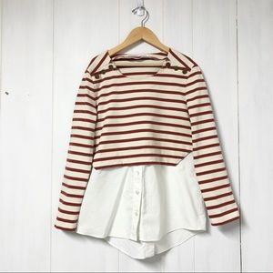 Veronica Beard Faux Layered Striped Pullover Top